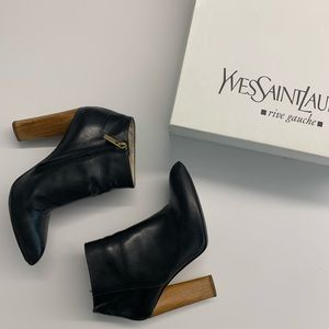 YSL Black Ankle Boots with Wood Heel